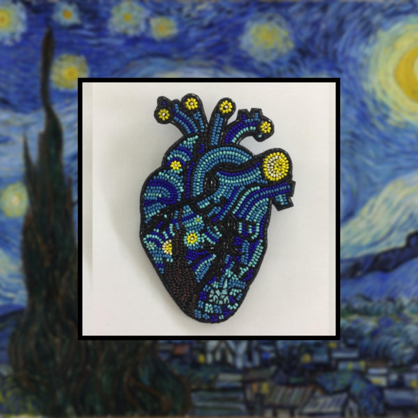 Starry Night Heart Brooch + Necklace