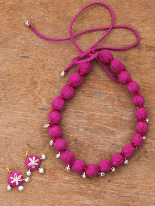 Pink textile necklace set