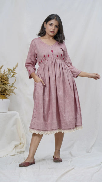 Rosy embroidered midi dress