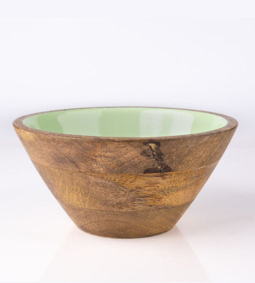 Serving Bowl Wooden Light Green