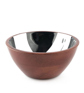 Serving Bowl Wooden White Brush