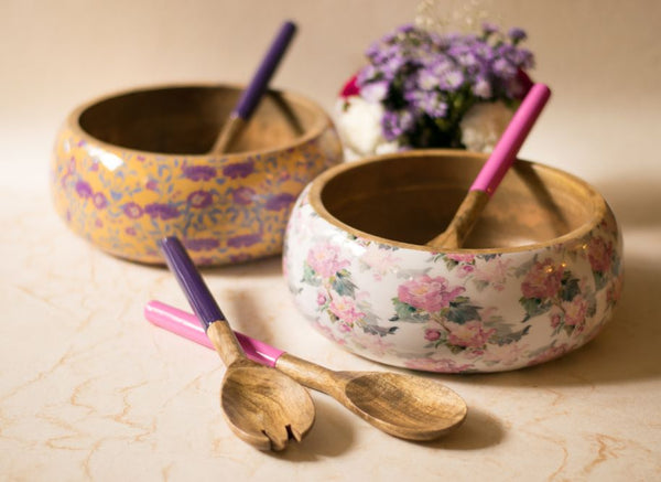 Salad Bowl + Server Set Wooden White+Pink