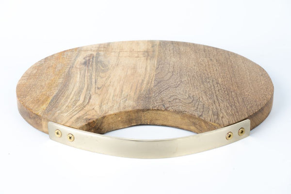 Serving Board Circle SS Handle Gold