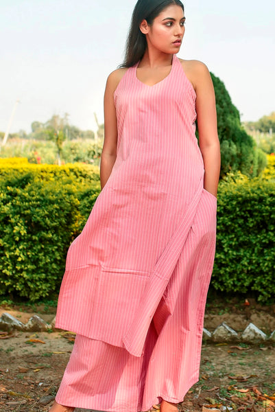 Striped halter Masakali Tunic set
