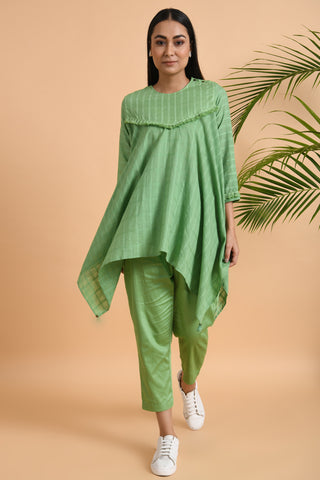 Green Asymmetrical Cotton Top with Tassels