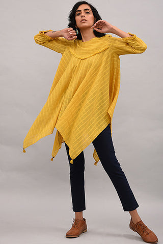 Yellow Asymmetrical Cotton Top with Tassels
