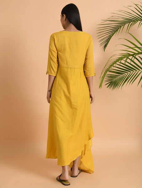 Yellow overlap drape dress