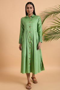 Green Box Pleat Cotton Silk Jacket