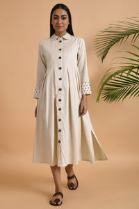 Ivory Box Pleat Cotton Silk Jacket