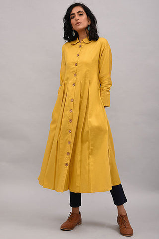 Yellow Box Pleat Cotton Silk Jacket