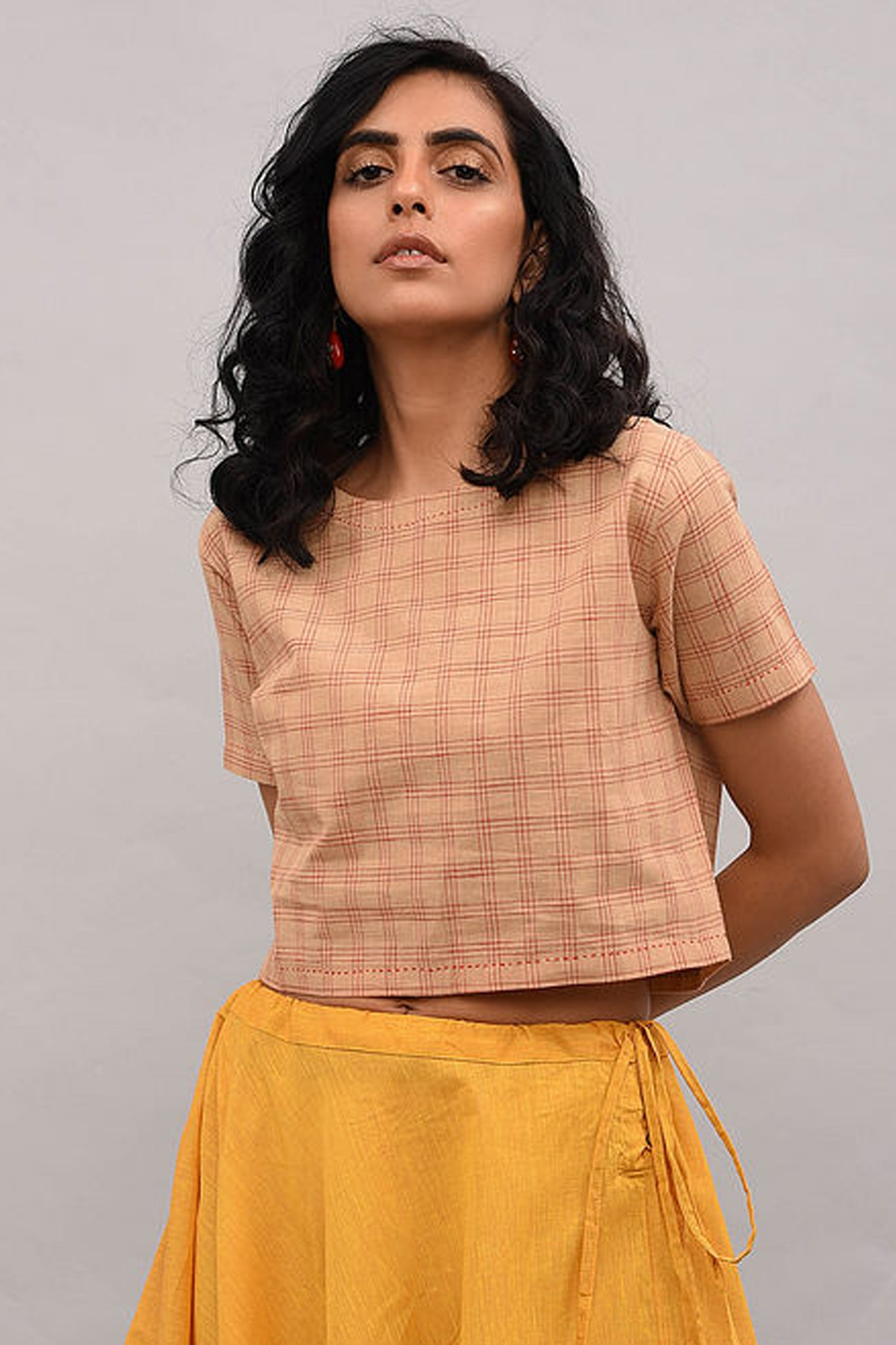 Beige Checkered Cotton Top
