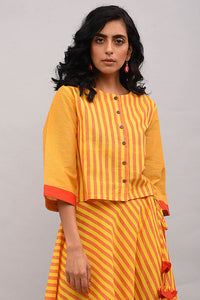 Yellow Orange Striped Cotton Top