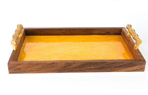 Wooden Tray - Water Colour Yellow