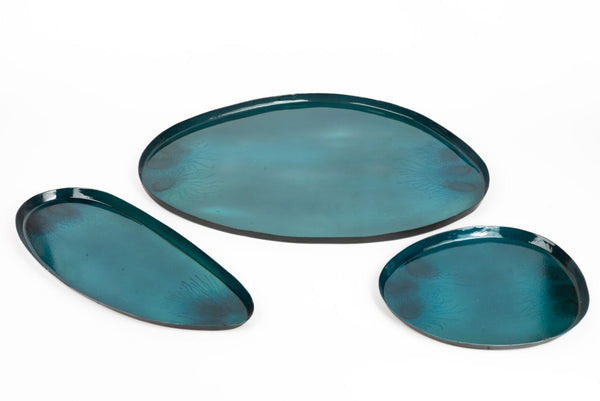 Metal Tray Textured - Blue