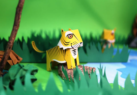 Mini Tiger Educational DIY Paper Craft Kit: Endangered Wildlife Series