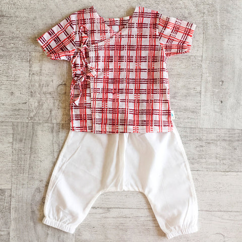 KIDS UNISEX ORGANIC CHECKS PRINT ANGARAKHA TOP + WHITE PANTS