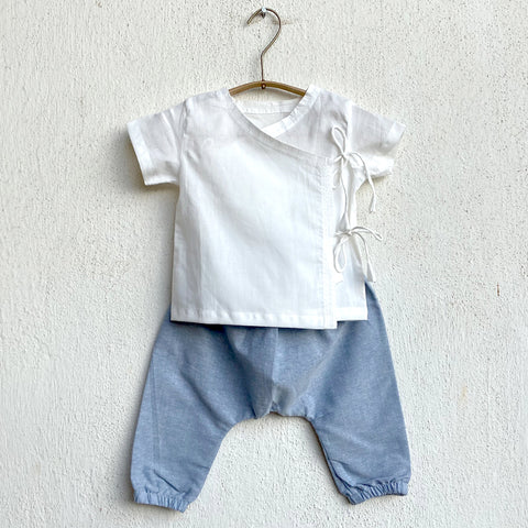 KIDS UNISEX ORGANIC ESSENTIAL WHITE ANGRAKHA TOP + BLUE CHAMBRAY PANTS