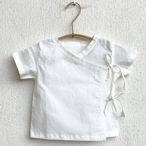 KIDS UNISEX ORGANIC ESSENTIAL WHITE ANGRAKHA TOP + PANTS
