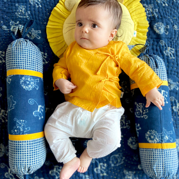 Kids UNISEX ORGANIC YELLOW ANGRAKHA  +  WHITE PANTS