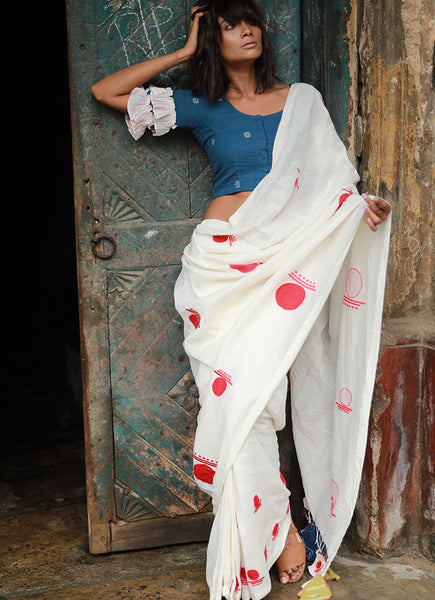 White Linen Saree with Red Bindi Applique Embroidery