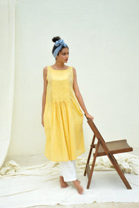 Yellow Smocking Mulmul Tunic with Pants