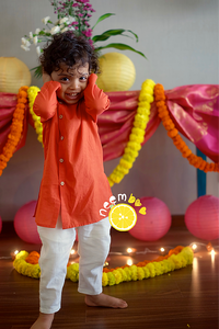 Zesty Festy Kurta - Orange