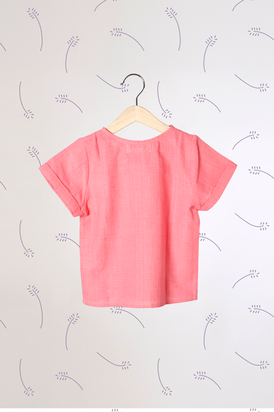 'Lavender Skies' - Unisex Tee with Big Side Button in Pink