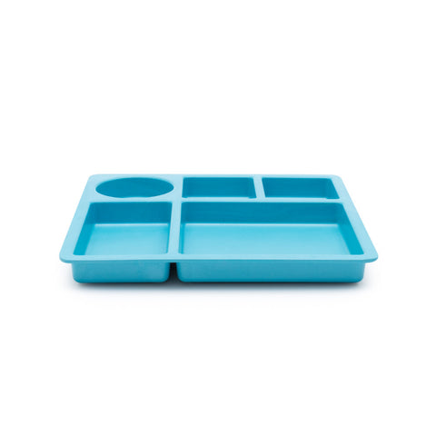 Bamboo Divided Plate for Kids, 5 Portioned Sections - Dolphin Blue