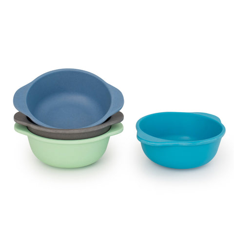 Set of 4 Bamboo Kids Snack Bowls, Stackable & Reusable Coastal