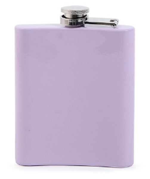 Stainless Steel Hip Flask -Whiskey, Yes Please. Lilac
