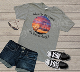 When the Sky is Pink It's Time to Drink, Happy Hour, Drinking with Friends, Mountain Sunset, Sunset Shirt