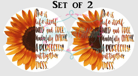 Sunflower Car Coasters Set of 2, She is Life Car Coasters, Sunflower Cupholder Coaster, She is Life Wild and Free