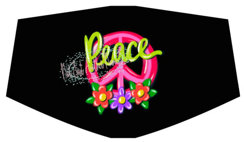 Peace Flower Power Face Cover/Mask, Washable Face Cover