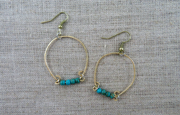 Handmade Jewelry Beaded Hoop Earrings Boho Women's Accessories Hammer and Heart Boutique Made in the USA Raleigh North Carolina
