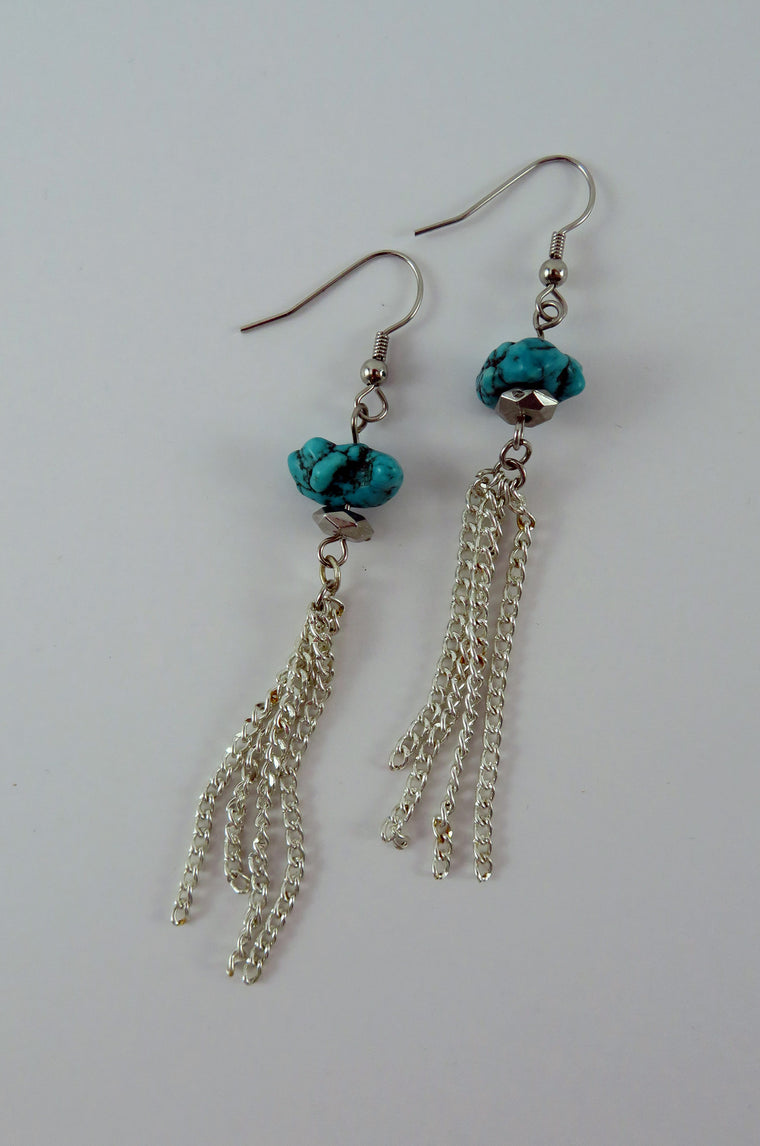 Chain and Stone Earrings