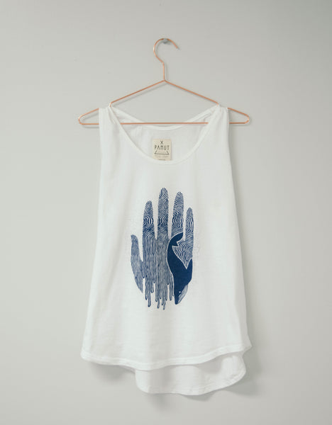 Hammer and Heart Boutique Pamut Whale Tank Top Organic Cotton Tee Eco-Friendly Fashion Made in the USA