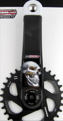 Crankskins Mini CHROME SKULL SIDEVIEW with Logo