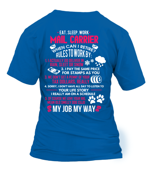 Mail Carrier - Rules To Work Shirt - Giggle Rich - 3
