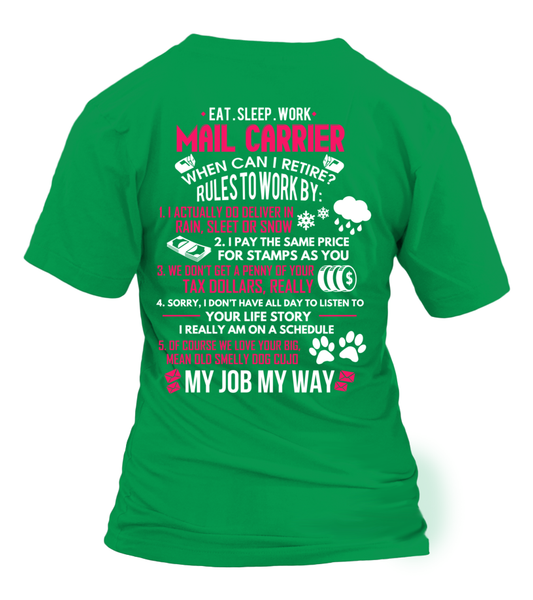Mail Carrier - Rules To Work Shirt - Giggle Rich - 5