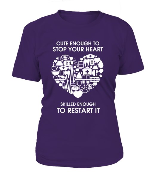 Cute Enough To Stop Your Heart Shirt - Giggle Rich - 8