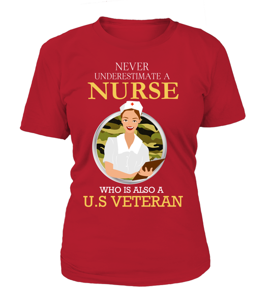 Never Underestimate A Nurse Who Is US Veteran Shirt - Giggle Rich - 11