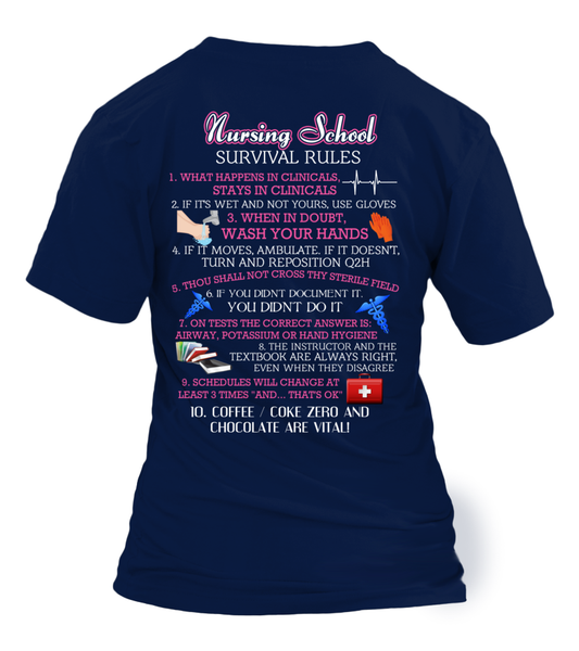 Nursing School Survival Rules Shirt - Giggle Rich - 32