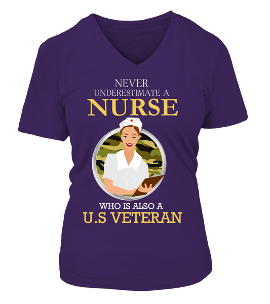 Never Underestimate A Nurse Who Is US Veteran Shirt - Giggle Rich - 14
