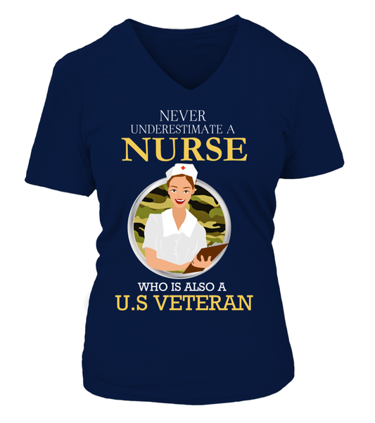 Never Underestimate A Nurse Who Is US Veteran Shirt - Giggle Rich - 16