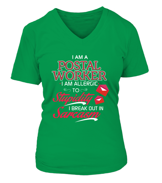 Postal Worker Are Allergic To Stupidity Shirt - Giggle Rich - 14