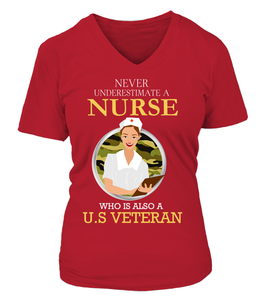 Never Underestimate A Nurse Who Is US Veteran Shirt - Giggle Rich - 15