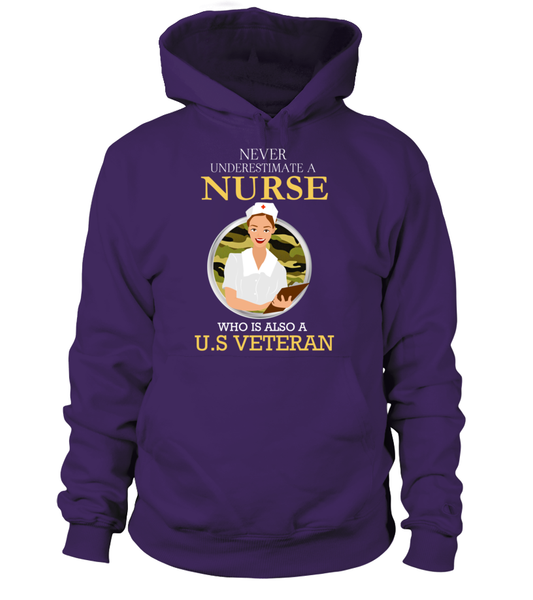 Never Underestimate A Nurse Who Is US Veteran Shirt - Giggle Rich - 5