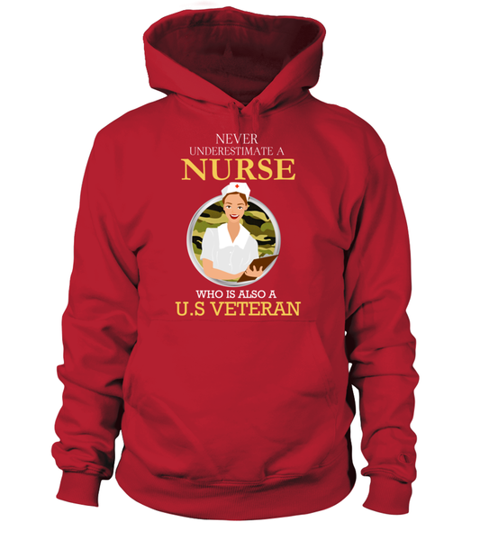 Never Underestimate A Nurse Who Is US Veteran Shirt - Giggle Rich - 6