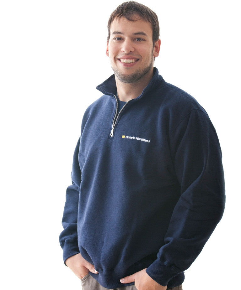 Unisex Zip-polo Sweatshirt with collar with Ontario Northland logo.