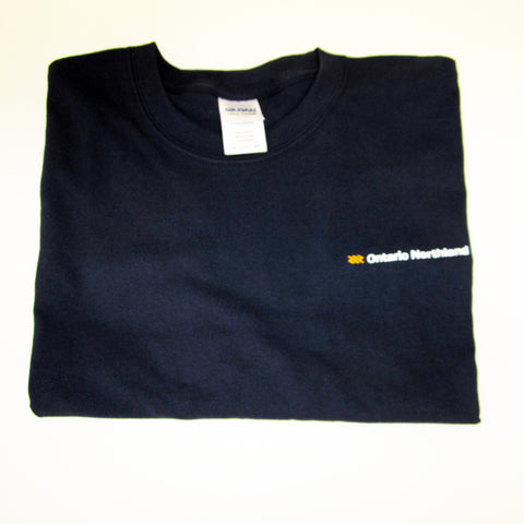Long Sleeve T-shirt, navy with Ontario Northland logo.
